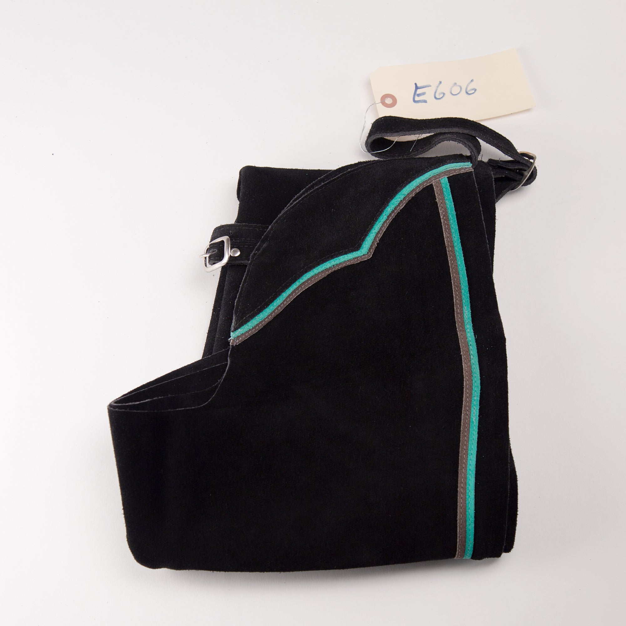 English Schooling Chaps - Black Suede - Teal and Grey Stripes