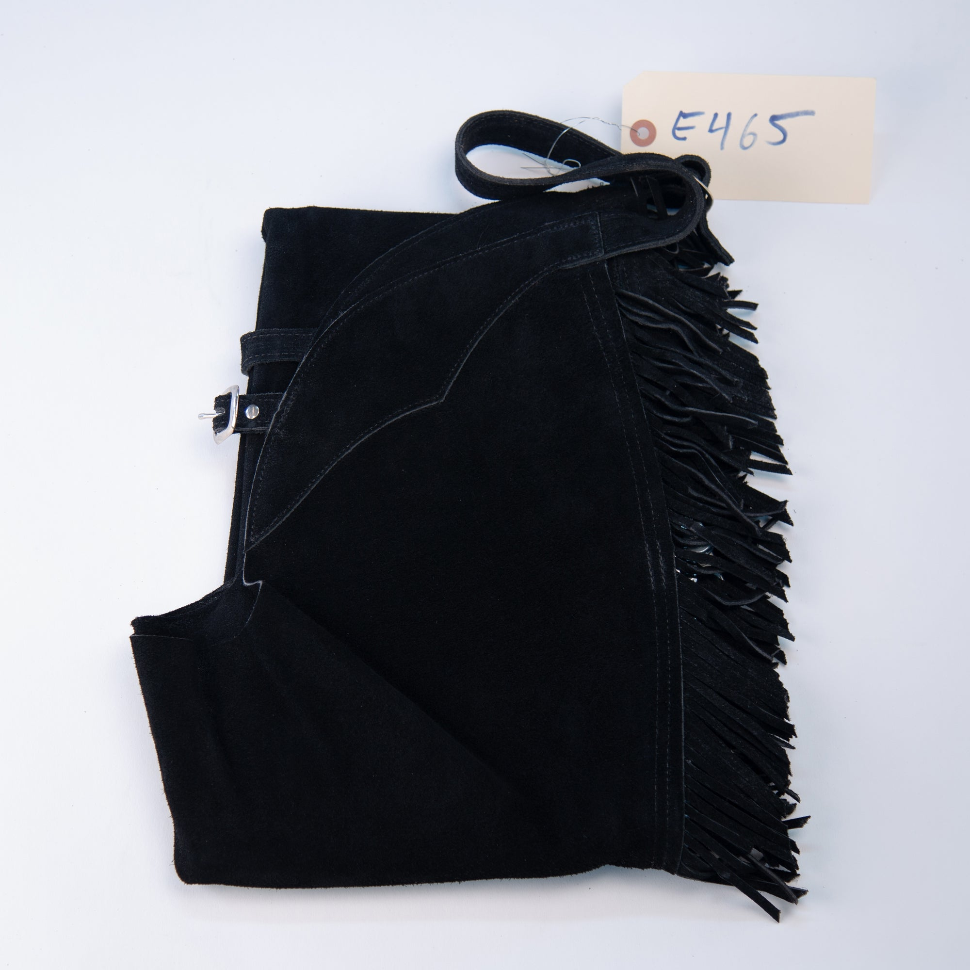 English Schooling Chaps - Black Suede - Fringe
