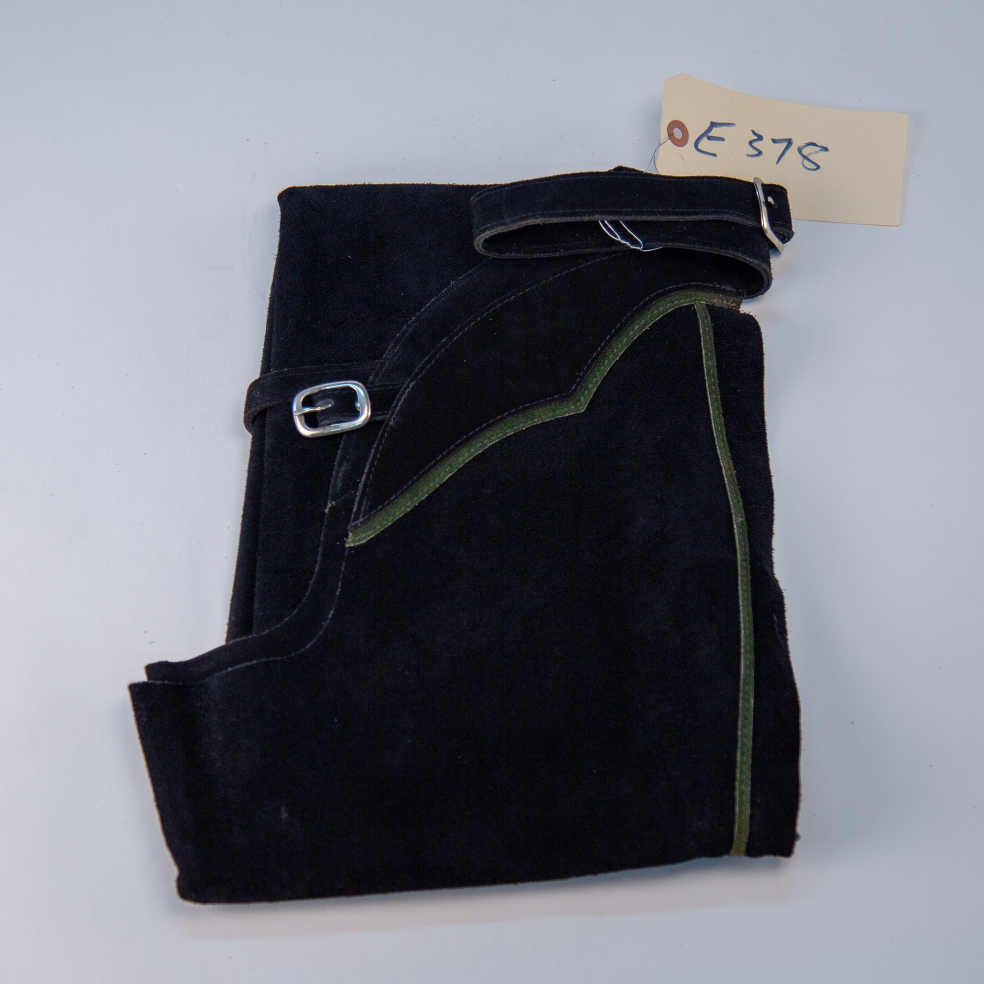 English Schooling Chaps - Black Suede - Hunter Stripe