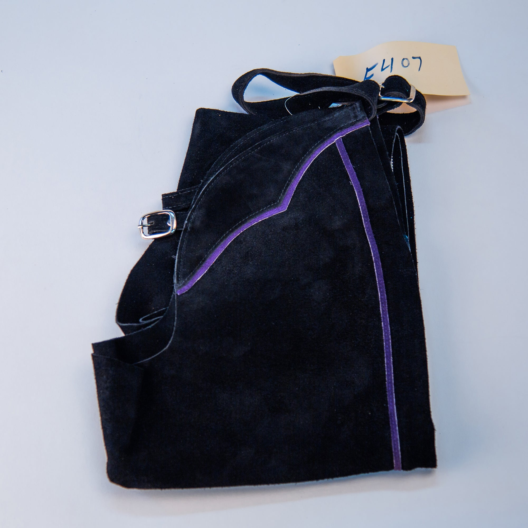 English Schooling Chaps - Black Suede - Purple Stripe