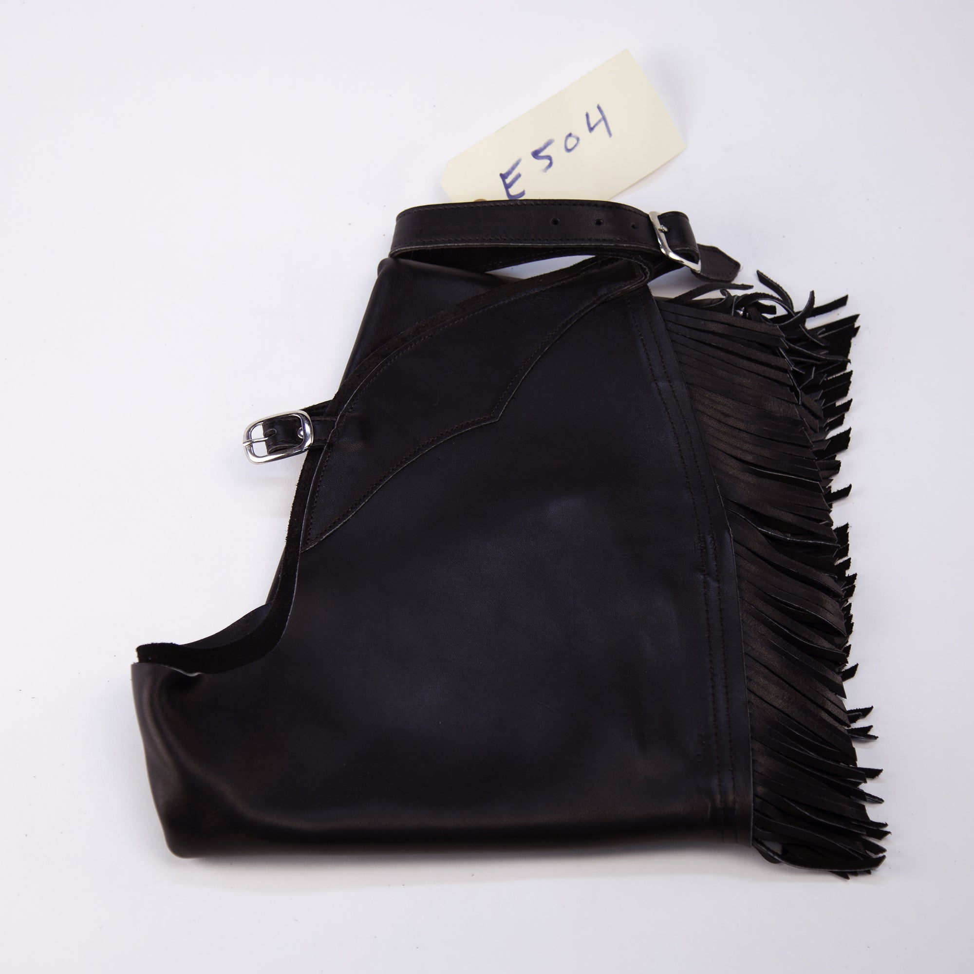 English Schooling Chaps - Black Top Grain - Fringe