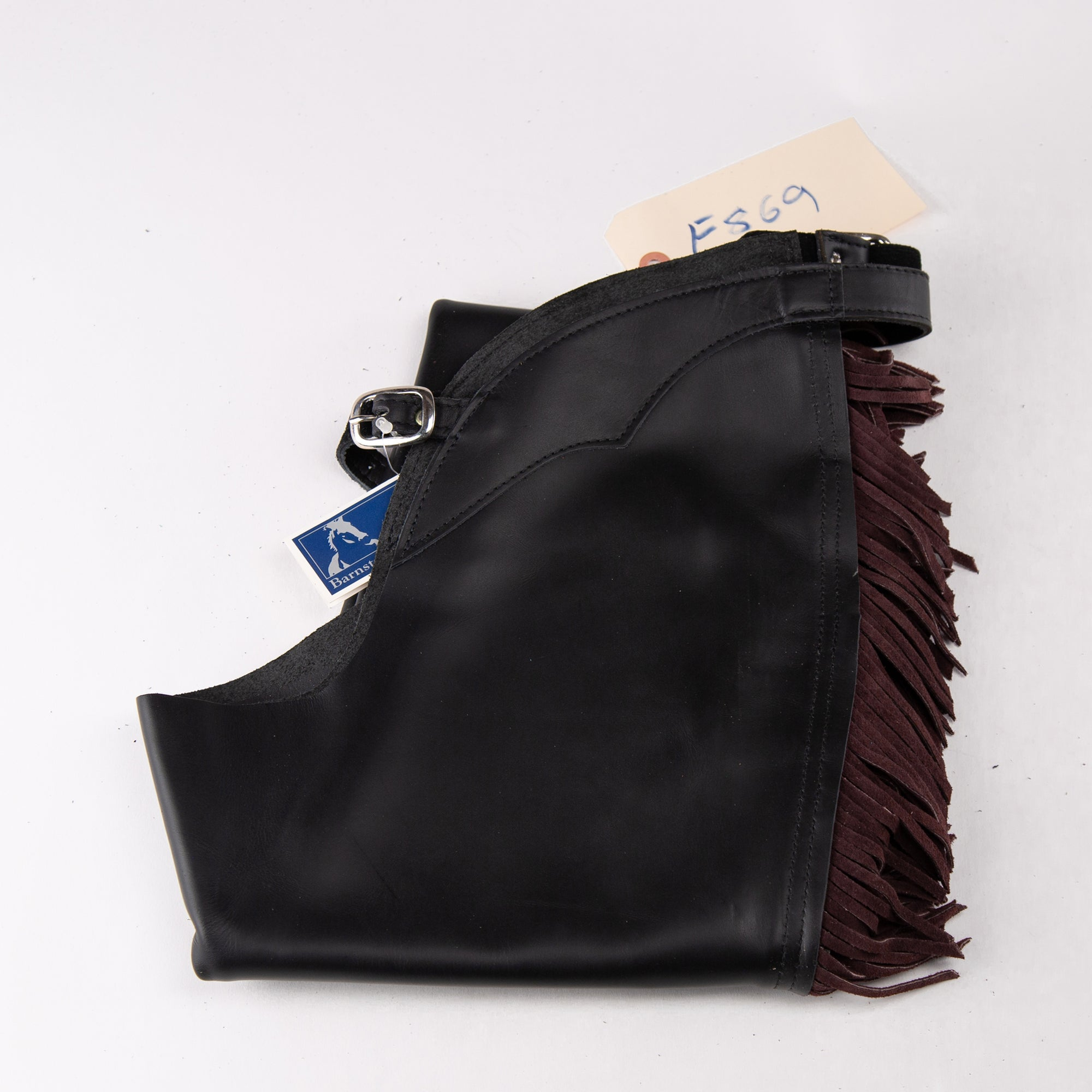 English Schooling Chaps - Black Top Grain Leather - Burgundy Fringe