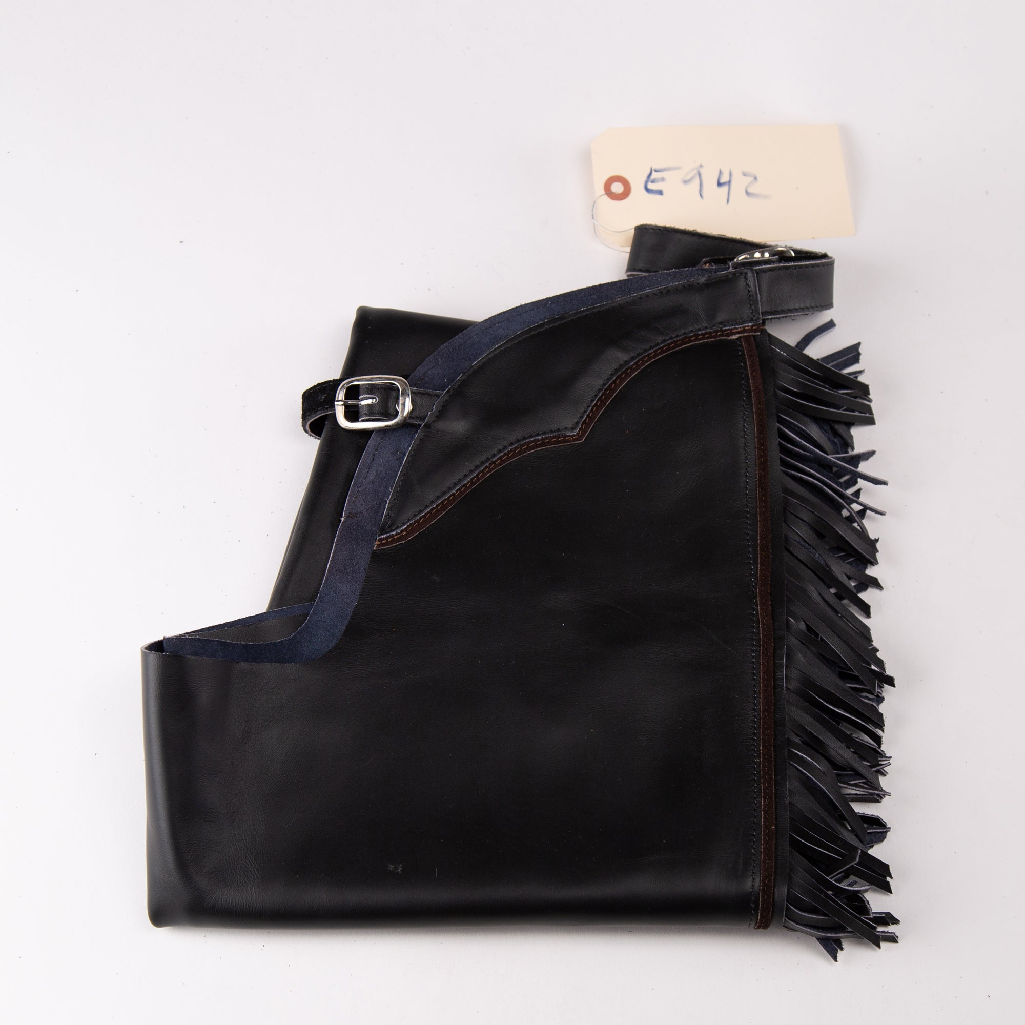English Schooling Chaps - Black Top Grain Leather - Fringe and Brown Stripe