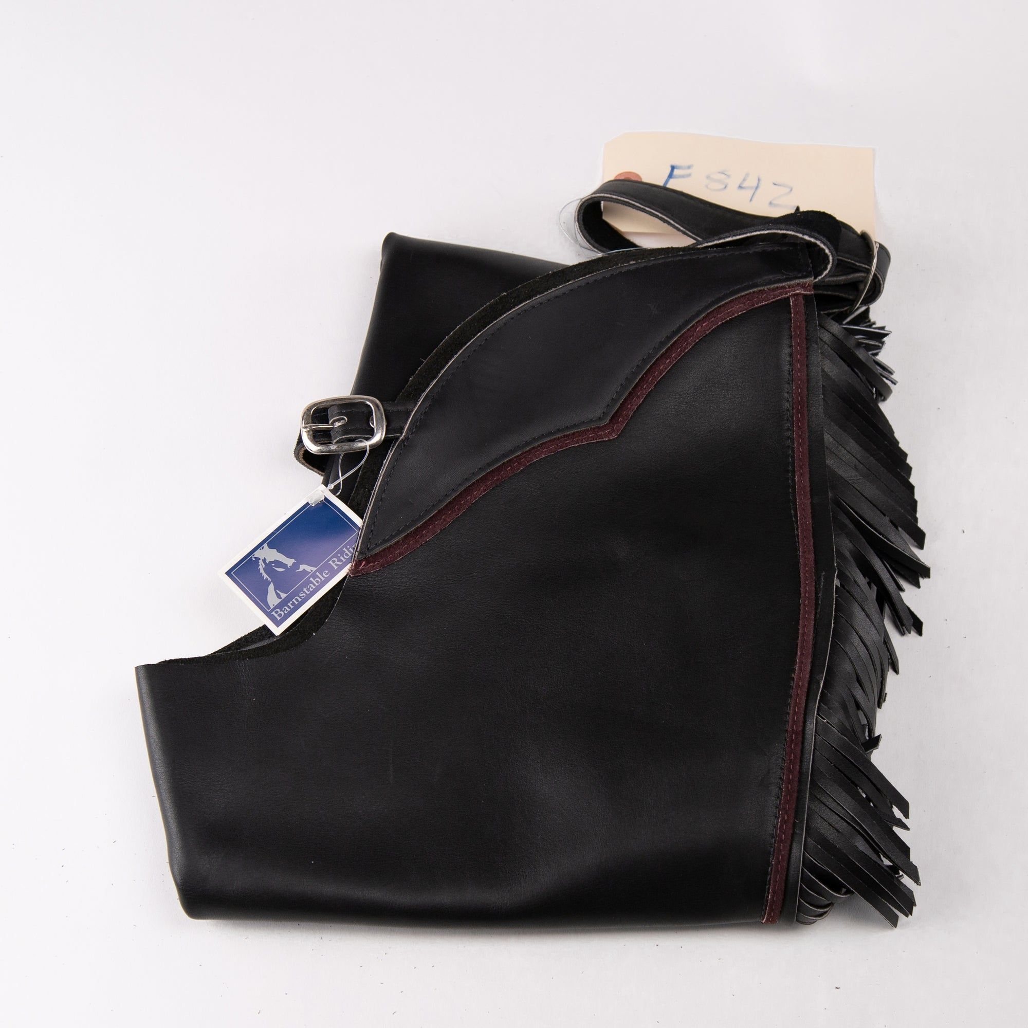 English Schooling Chaps - Black Top Grain Leather - Fringe and Burgundy Stripe