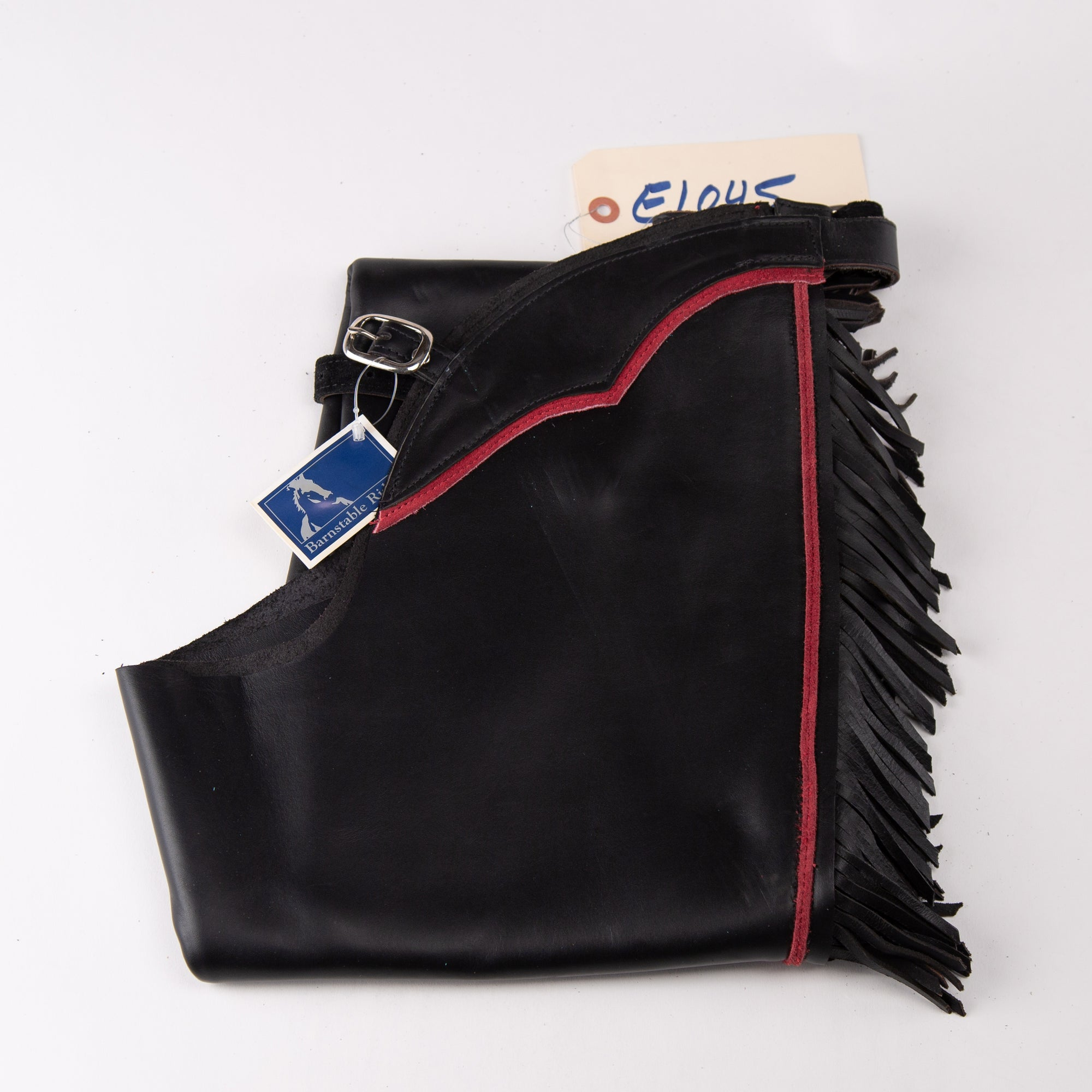 English Schooling Chaps - Black Top Grain Leather - Fringe and Red Stripe