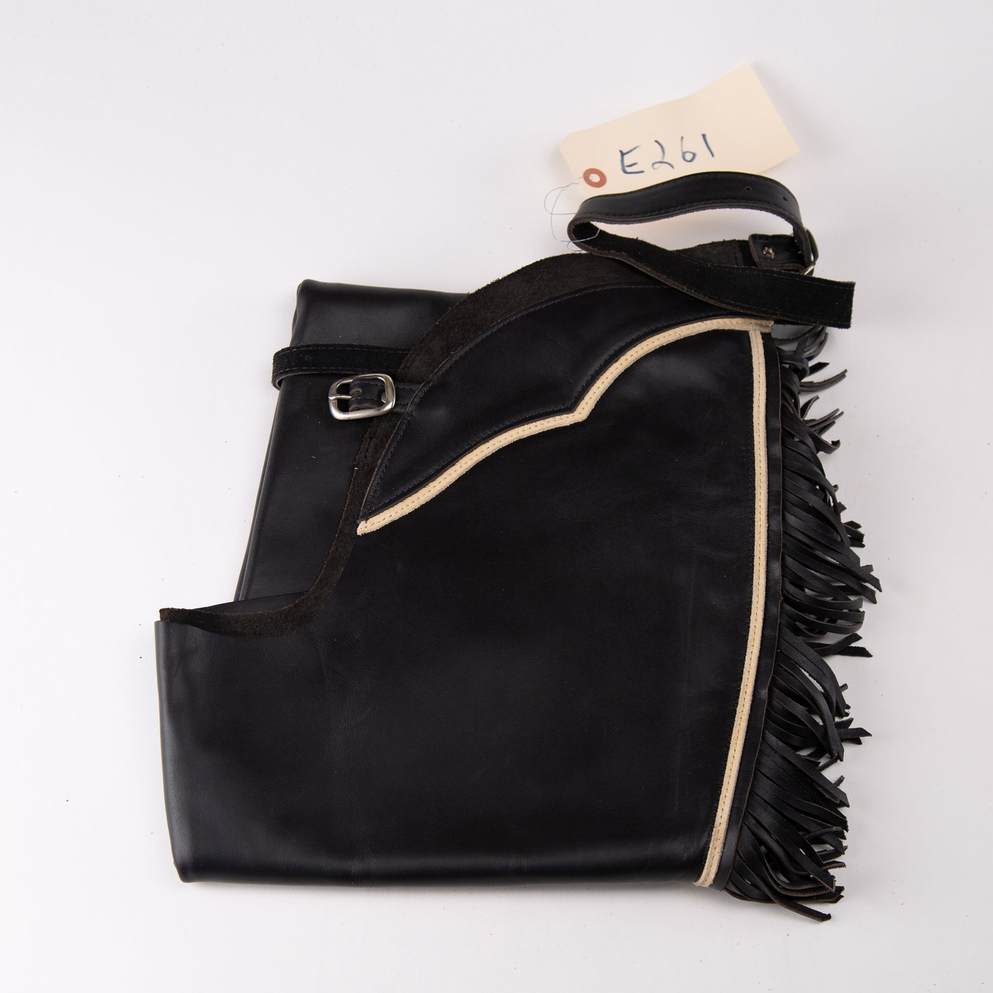 English Schooling Chaps - Black Top Grain Leather - Fringe and Sand Stripe