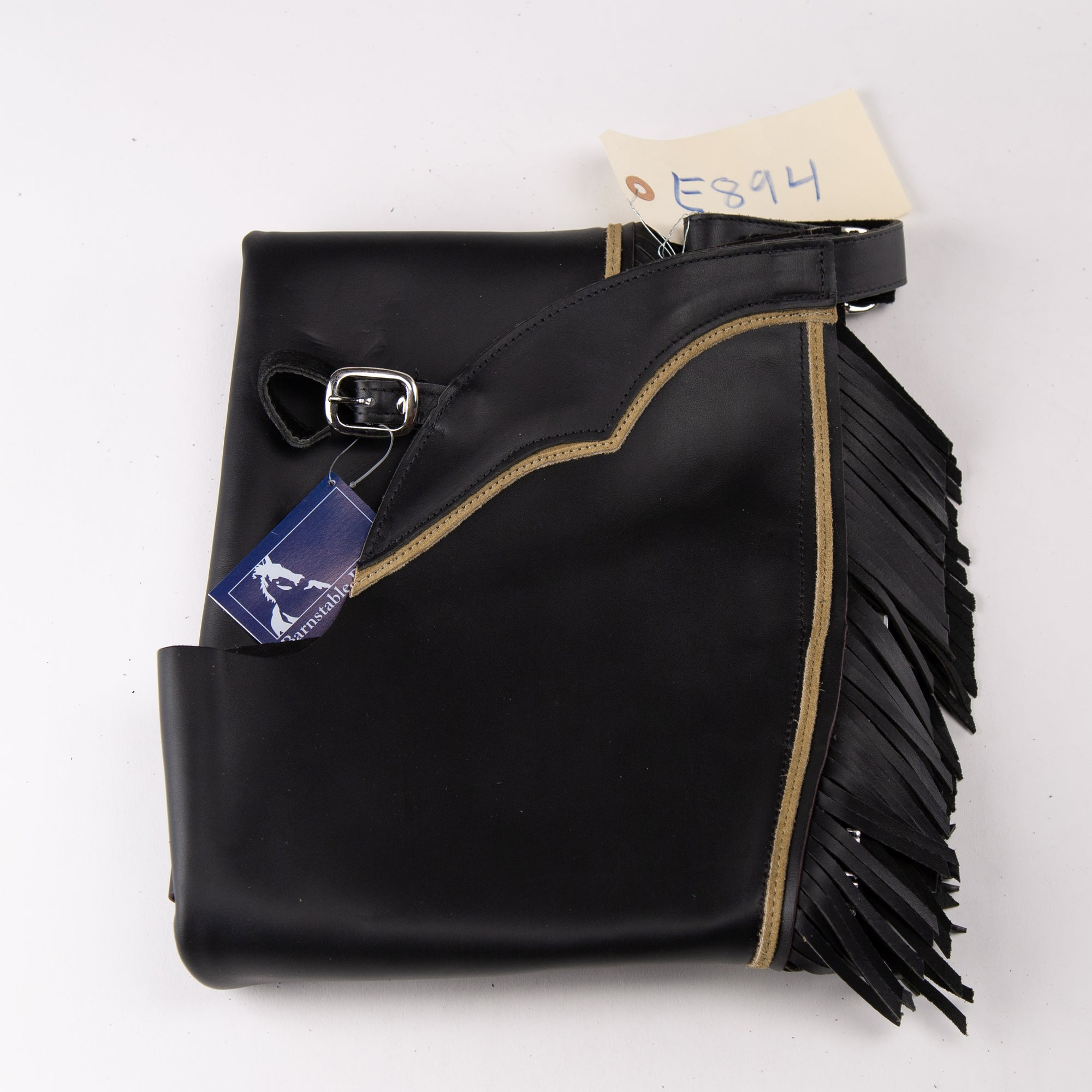 English Schooling Chaps - Black Top Grain Leather - Fringe and Taupe Stripe