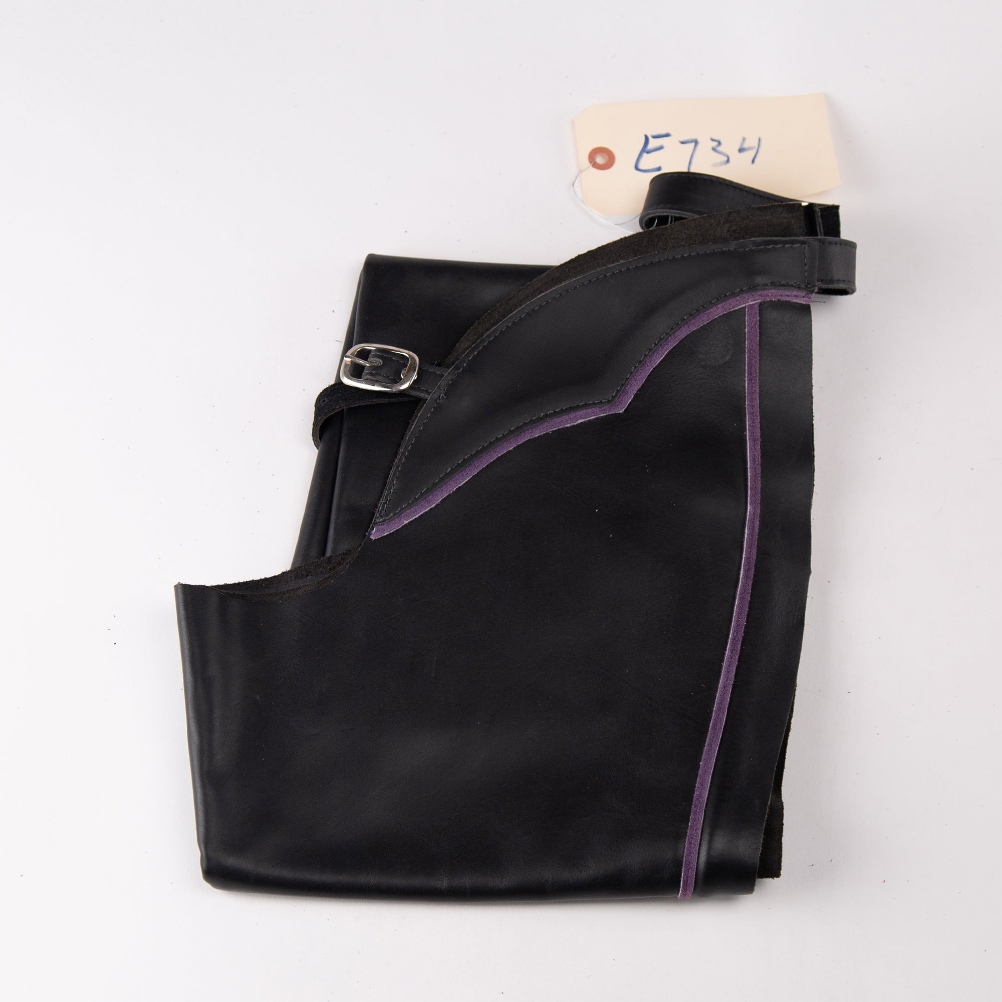 English Schooling Chaps - Black Top Grain Leather - Purple Stripe