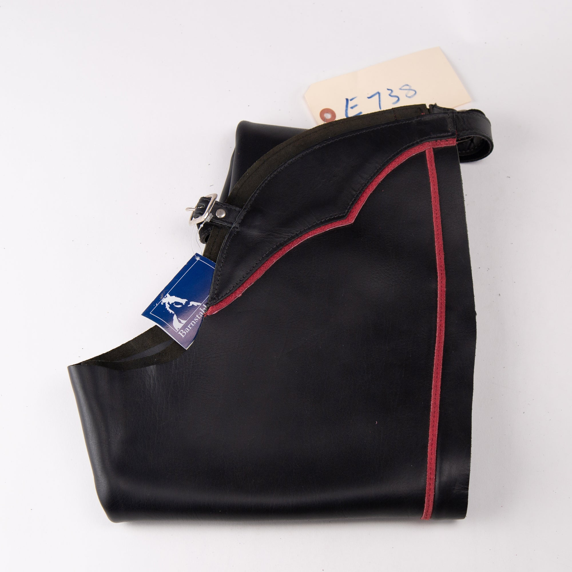 English Schooling Chaps - Black Top Grain Leather - Red Stripe