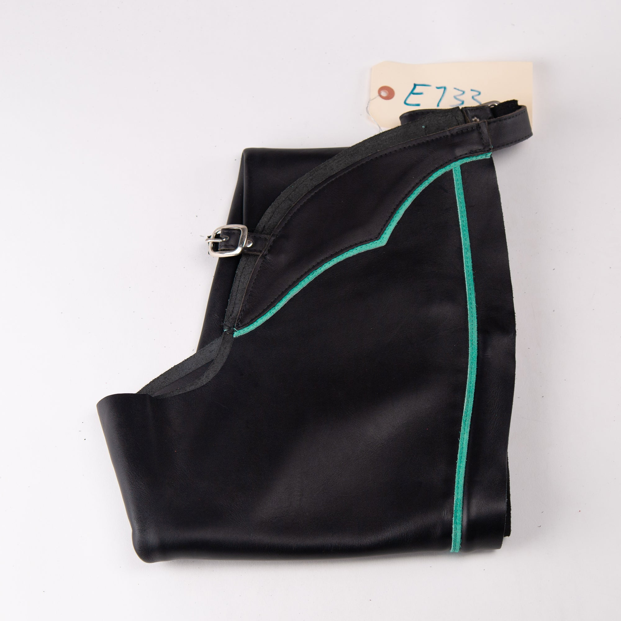 English Schooling Chaps - Black Top Grain Leather - Teal Stripe