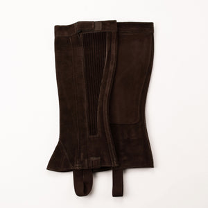 Half Chap - Brown Suede - Elastic with Zipper Closure