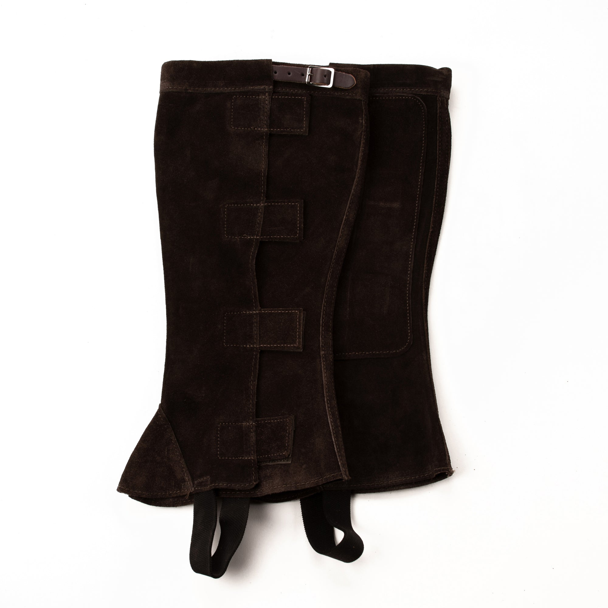 Half Chap - Brown Suede - Velcro & Buckle Closure with Brown Strap