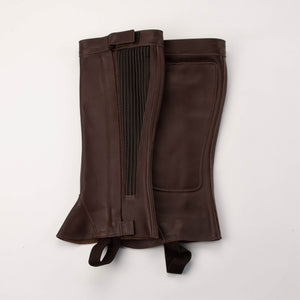 Half Chap - Burgundy Top Grain Leather - Elastic with Zipper Closure