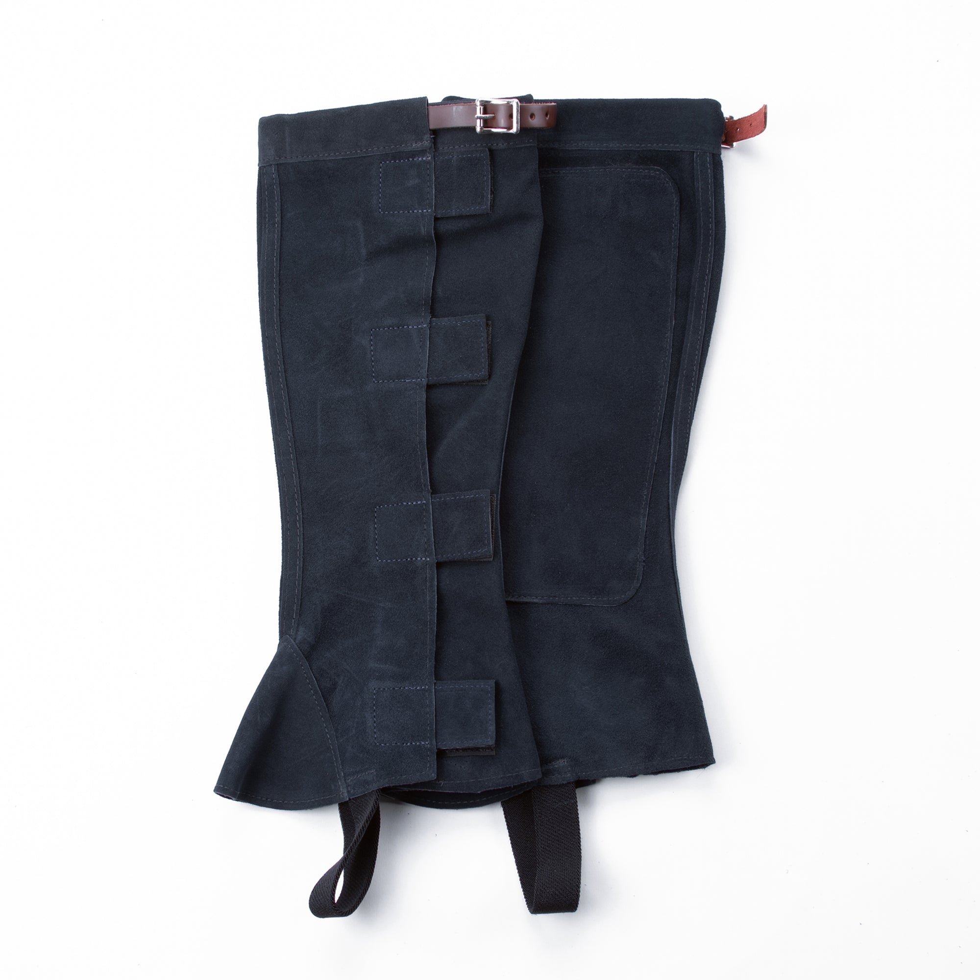 Half Chap - Navy Suede - Velcro & Buckle Closure with Brown Strap