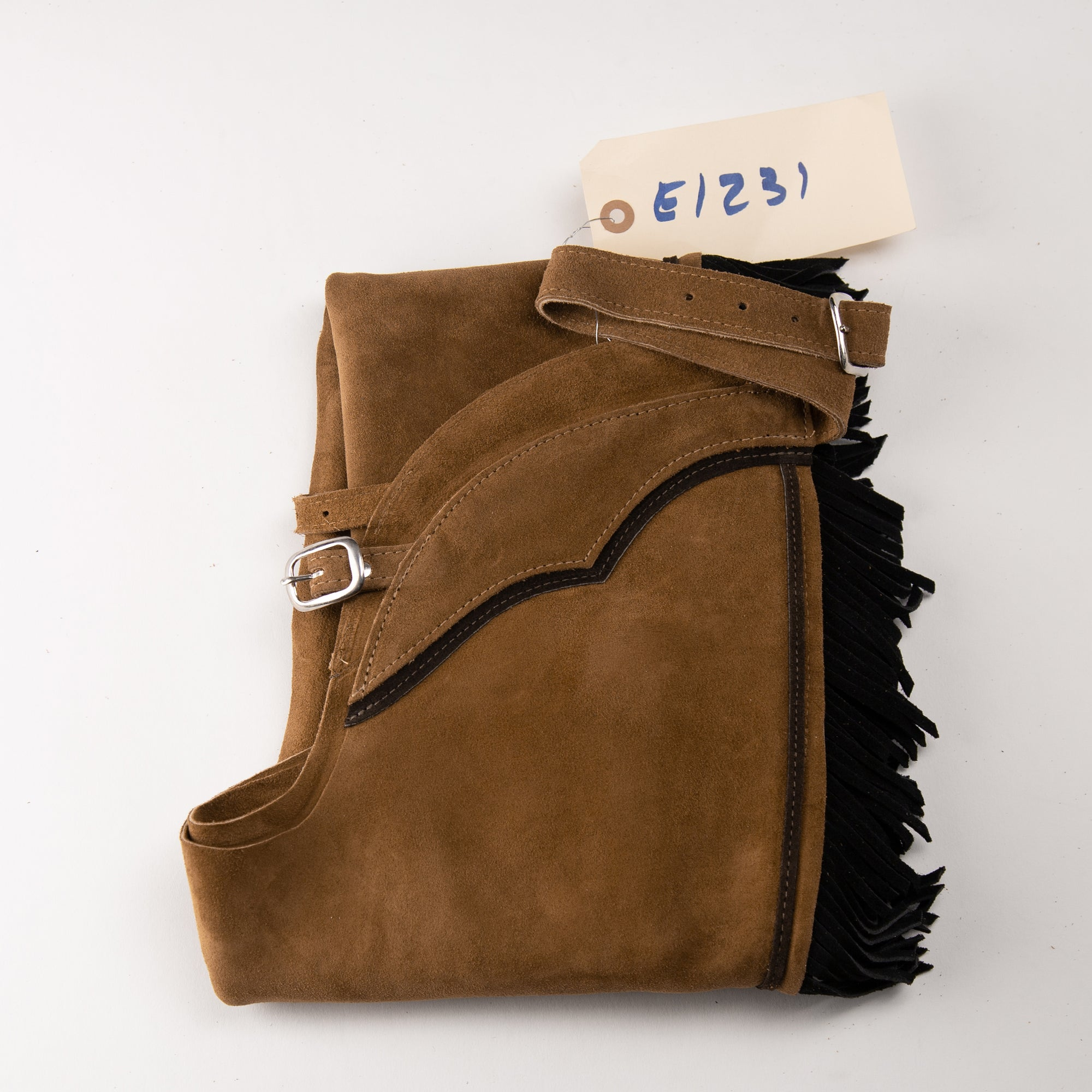 English Schooling Chaps - Toast Suede - Black Fringe and Brown Stripe