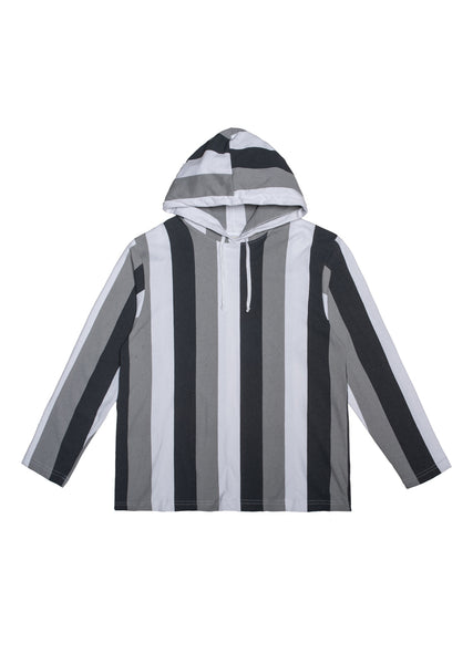 Typeo Stripe Hoodie - Grey/White/Light Grey