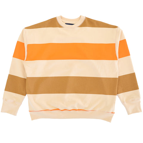 Big Stripe Icon Sweatshirt - Off White/Orange/Light Brown