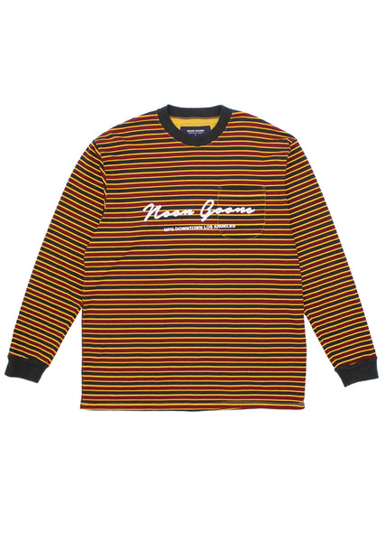 Patricia L/S T-shirt - Pale Orange/Burgundy/Black