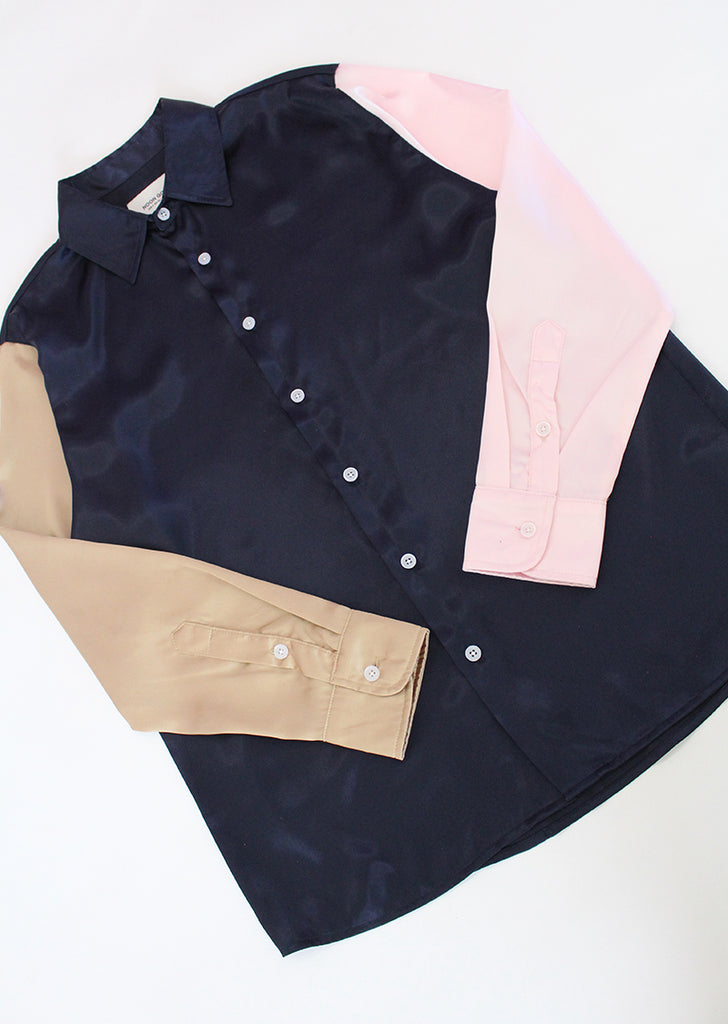 The Downtown Shirt - Navy/Brown/Pink