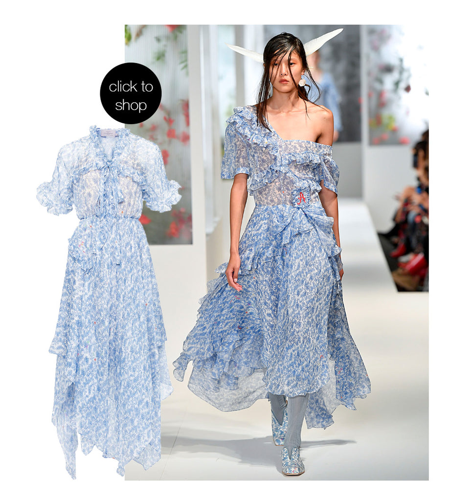 PREEN BY THORNTON BREGAZZI BLUE FLORAL DESIGNER SS18 LILOU DRESS
