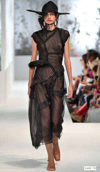 Preen by Thornton Bregazzi SS18 runway look 10 sheer black dress with frills