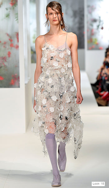 Preen by Thornton Bregazzi SS18 runway look 15 lace strap dress with silver flowers