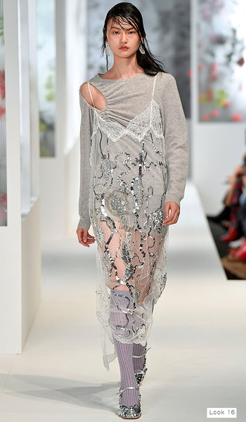 Preen by Thornton Bregazzi SS18 runway look 16 knit grey jumper dress with sequin slip overlay