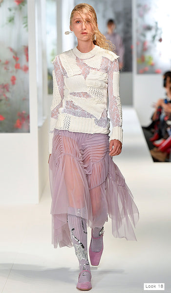 Preen by Thornton Bregazzi SS18 runway look 18 lavender dress with cutout knit jumper