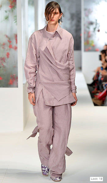 Preen by Thornton Bregazzi SS18 runway look 19 pastel lavender linen suit