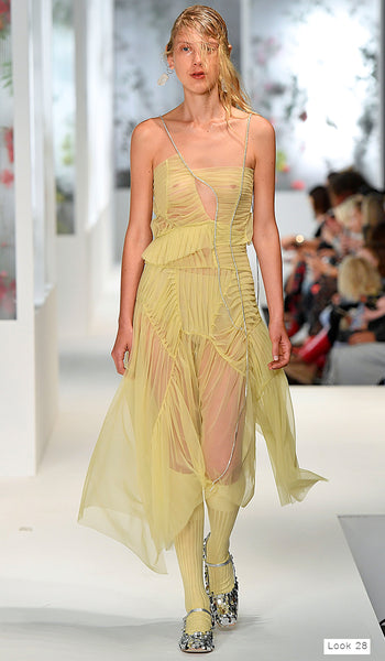 Preen by Thornton Bregazzi SS18 runway look 28 yellow sheer tulle dress with diamantes