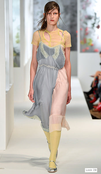 Preen by Thornton Bregazzi SS18 runway look 29 blue and pink patchwork silk slip dress over mesh cutout top