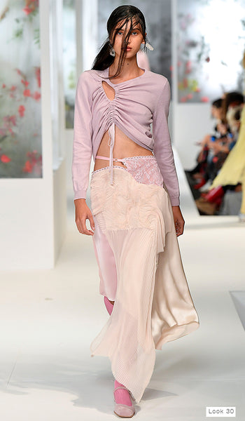 Preen by Thornton Bregazzi SS18 runway look 30 peach pleated skirt with lavender cutout jumper