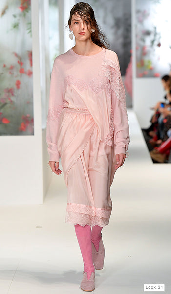 Preen by Thornton Bregazzi SS18 runway look 31 pink slip skirt and silk and knit jumper