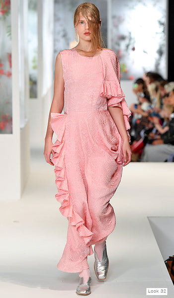 Preen by Thornton Bregazzi SS18 runway look 32 pink long dress with ruffles