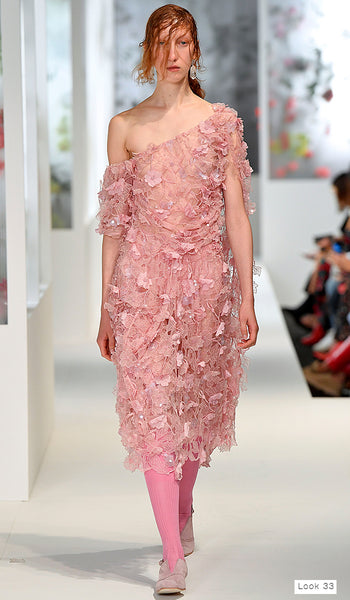 Preen by Thornton Bregazzi SS18 runway look 33 pink one shoulder floral sequin dress
