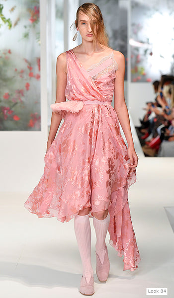 Preen by Thornton Bregazzi SS18 runway look 35 pink v neck dress with tulle tutu