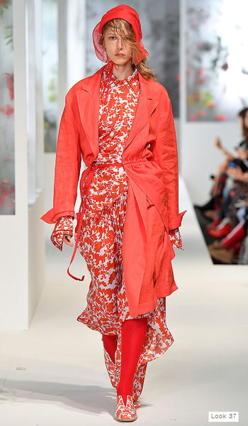 Preen by Thornton Bregazzi SS18 runway look 37 red brocade dress with red linen trench coat and bonnet