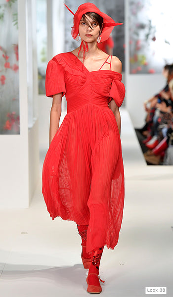 Preen by Thornton Bregazzi SS18 runway look 29 red off the shoulder dress with bonnet
