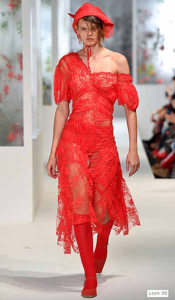 Preen by Thornton Bregazzi SS18 runway look 39 red off shoulder lace dress with bonnet