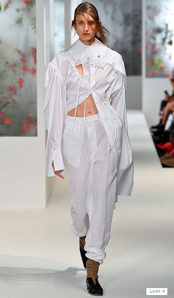 Preen by Thornton Bregazzi SS18 runway Look 4 white embroidered shirt with collar