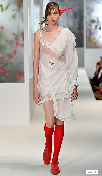 Preen by Thornton Bregazzi SS18 runway look 5 white slip dress with red socks