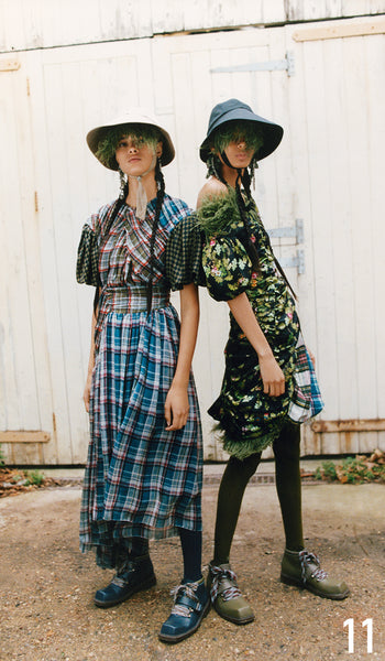 Preen By Thornton Bregazzi Pre-Fall 2019 Look 11 Brianna Dress with Naomi Hat and Sofia Boot. Samira Dress with Naomi Hat and Sofia Boot.