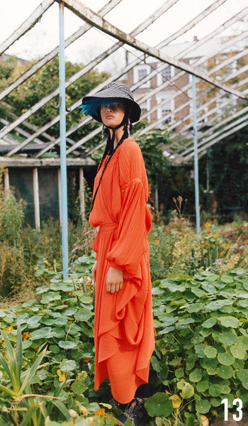 Preen By Thornton Bregazzi Pre-Fall 2019 Look 13 Melody Dress with Naomi Hat and Sofia Boot
