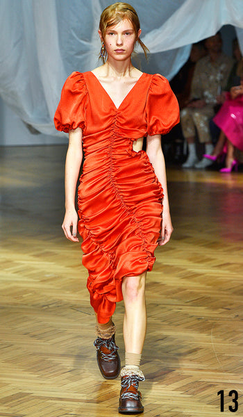 PREEN BY THORNTON BREGAZZI SS19 LOOK 13 YEVA PODURIAN IS WEARING VELMA DRESS AND ZEN BOOT.