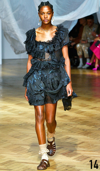 PREEN BY THORNTON BREGAZZI SS19 LOOK 14 KARLY LOYCE IS WEARING LESLIE DRESS WITH INDIRA SANDAL.