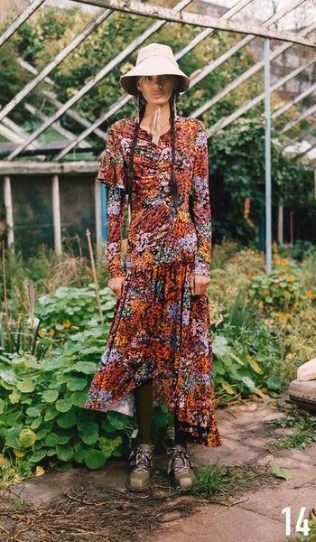 Preen By Thornton Bregazzi Pre-Fall 2019 Look 14 Ashley Dress with Naomi Hat and Sofia Boot