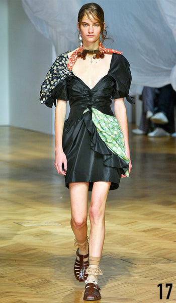 PREEN BY THORNTON BREGAZZI SS19 LOOK 17 ALINA BOLOTINA IS WEARING FLORENCE DRESS AND NECK SCARF WITH INDIRA SANDAL.