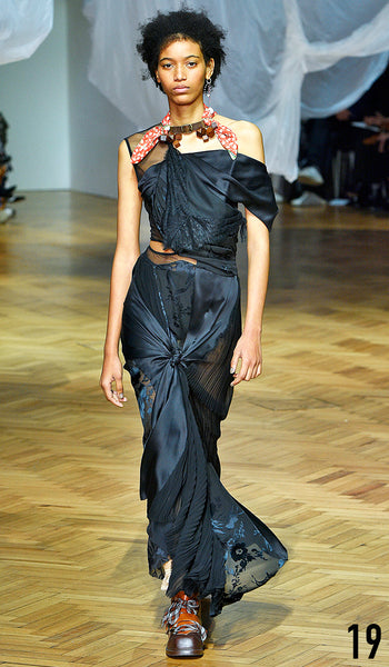 PREEN BY THORNTON BREGAZZI SS19 LOOK 19 MANUELA SANCHEZ IS WEARING IVANNA DRESS AND NECK SCARF WITH ZEN BOOT.