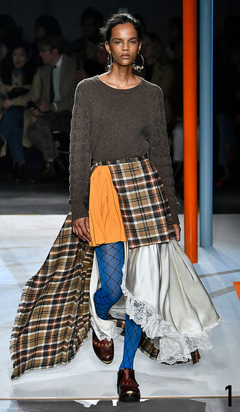 Preen by Thornton Bregazzi AW19 runway show look 1 Natalia Montero is wearing Camilla Knit and Jules Skirt.