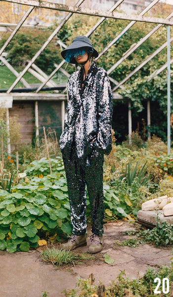 Preen By Thornton Bregazzi Pre-Fall 2019 Look 20 Olivia Jacket and Ava Trousers with Naomi Hat and Sofia Boot.
